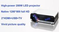3500 люмен андроид 4.1 беспроводной проектор, 200 вт высокой мощности из светодиодов лампы, 1280 * 800 с высоким разрешением жк из светодиодов компьютер полный HD