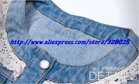 женщина осень свободного покроя бисероплетение верхняя одежда женщин красивый синие джинсы куртки офис леди половина с кружевными рукавами винтаж джинсовая куртка