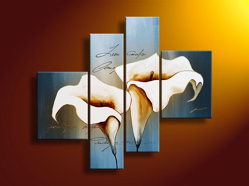 Hand Painted Abstract Wall Art Fashion Blue White Flowers Decoration  Landscape Oil Painting On Canvas 4pcs/set Frame In Painting U0026 Calligraphy  From Home ...