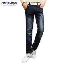 Port Lotus Fashion Casual Jeans New Arrival With Zipper Fly Solid Color Midweight Pencil Pants Slim