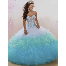 Lovely Ball Gown 15 Years Girl Party Dresses Sweetheart Crystal Beadings Ombre White and Blue Quinceanera Dress Corset Back