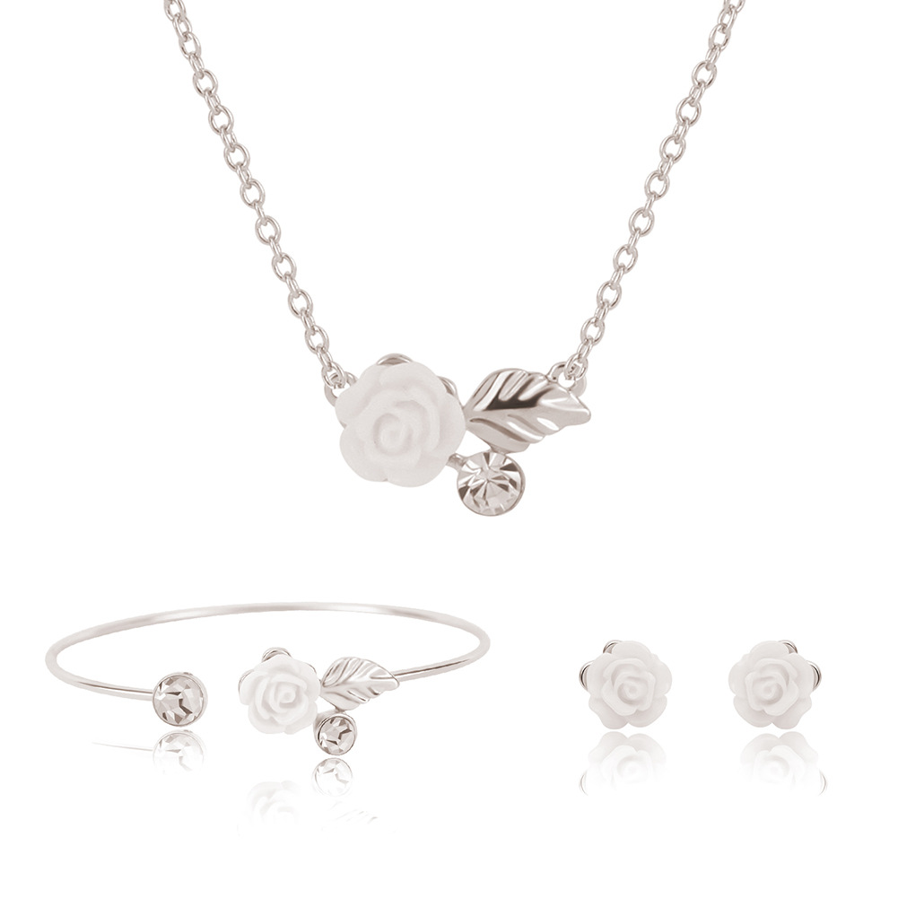 FUNIQUE Flower Imitation Pearl Earrings For Women Necklace Bracelet Set Fashion Woman Earrings 2018 Jewlery Sets Necklace Brinco
