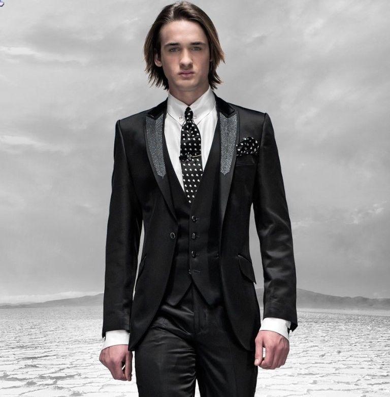 c830c7511 3 unidades negro solapa la manera por encargo hombres trajes último estilo  de alta calidad Slim Fit Terno Masculino nueva llegada