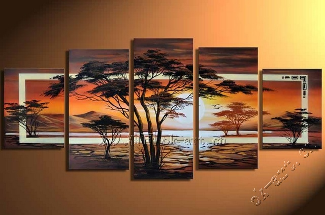 Great Hand Painted Wall Art Trees Oil Painting Sunrise African Home Decoration  5pcs/set Abstract Landscape Oil Painting On Canvas