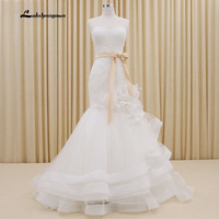 Luxurious Appliques Sweetheart Trumpet Mermaid Wedding Dresses 2016 White Ivory Floor Length Wedding Dresses