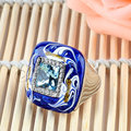 Jenia Brand Design Luxury White Gold Plated Austrian Crystal Oil Painting Ring for Women XR027