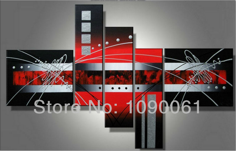 hand painted huge modern abstract oil painting on canvas black red