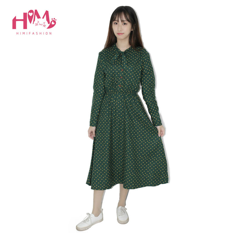 Cute Green Floral Dress Vintage Ladies Dresses Bohemian Style Autumn Winter Long Sleeves All Match New Fashion Long Sleeve Dress 4