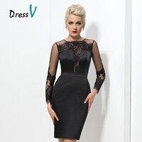 שמלות קוקטייל סקסי השחורה תחרה קצרה 2017 אופנה החדשה Applique Sheer ארוך שרוולי שיבה הביתה בתוספת גודל שמלות לנשף שמלות מפלגה