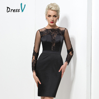 Sexy Black Lace Short Cocktail Dresses 2017 New Fashion Applique Sheer Long Sleeves Plus Size Homecoming Dresses Prom Party Gown
