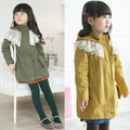 Cotton Blend + Lace Fall Kids Baby Girl Long Sleeve Hoodie Coat Jacket Tulle Windbreaker Coat 2-7Y