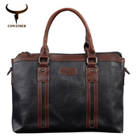 COWATHER Top Quality Men Messenger Bags Packet PU Bag Men Coffee Black Messenger Bags Handbag