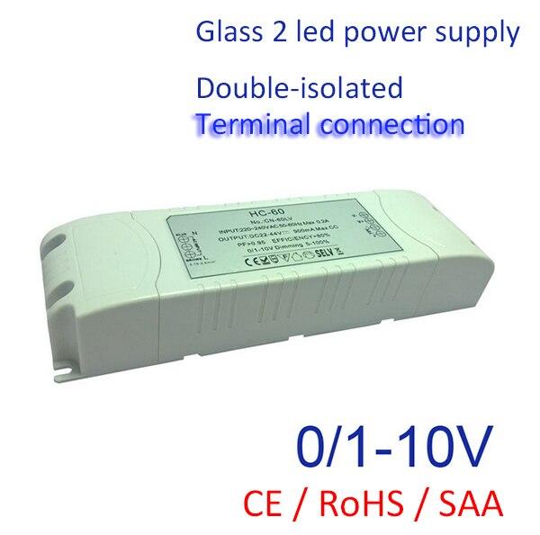 30-60 Вт легко Соединение для Светодиодная лампа 0-10 В 1-10 В затемнения высокая powr питания 2 года гарантии 900mA 1200mA 1500mA
