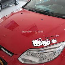 Funny Hello Kitty Cartoon Car Stickers Car Decoration Decal for Tesla Chevrolet Volkswagen Hyundai Kia Lada