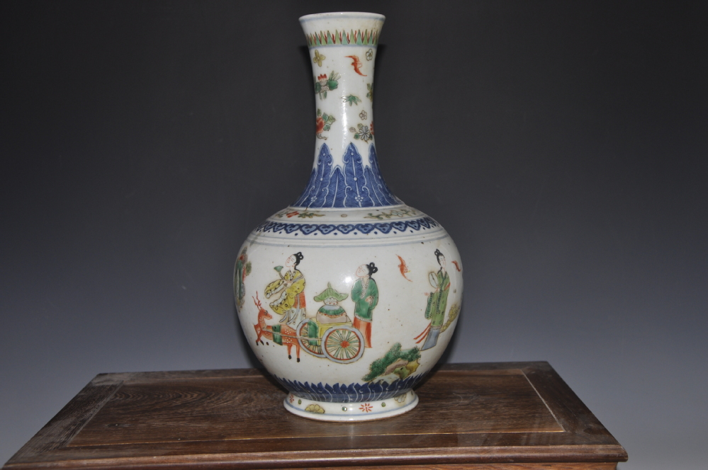 Old Chinese Qing Kangxi Year Antique Ceramic Five Colored Ceramic