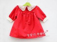 сакура в магазин cpam самых бесплатная кружевной воротник дети с длинными рукавами красное платье девочка платье