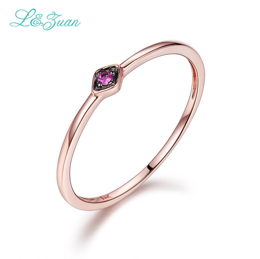 L&Zuan 14K Rose Gold Ruby 0.029ct Natural Small Slim Rings for Women Green/Blue/Red Stone Trendy Party Ring Fine Jewelry 0016-3