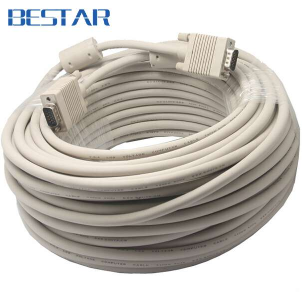 VGA To VGA Cable 15 Pin With Double Magnets Ring VGA 3+6 D-SUB Extension Cabo Male To Male 1.5m/1.8m/3m/5m/10m/15m/20m/25m/30m