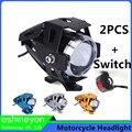 2PCS 125W 3000LM U5 Motorcycle LED Headlight Moped Spotlight Moto Driving Lamp Waterproof For Yamaha Suzuki Kawasaki 1PCS Switch