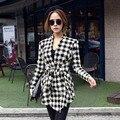 Women Houndstooth Cardigan Coat Female Slim Long Sleeve Jacket Open Stitch Belt Coat Outerwear Chaquetas Mujer