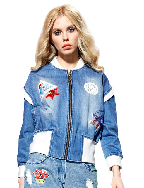 Elf SACK medal spring female loose fashion retro fashion finishing water wash denim outerwear female long-sleeve z