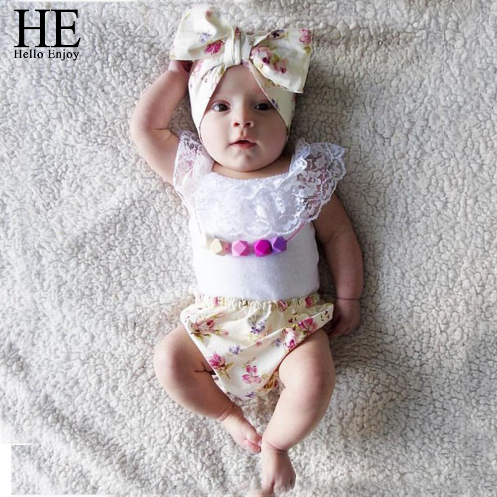 Hello Enjoy Baby clothes girls summer 2016 Brand baby girl clothing set headband White lace + shorts 3pcs infant clothing china baby girl clothing syriped short sleeve tshirt pant headband 2pcs set summer baby girls clothes set roupa de bebe