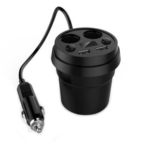 120w Car Charger Cup Holder Dual Cigarette Lighter Sockets Power Adapter With Dual USB Ports LED