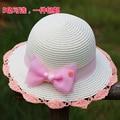 2016 Spring new pretty bowknot baby girls paper straw hat children flower sun hats summer cap kids beach hat child bucket hat