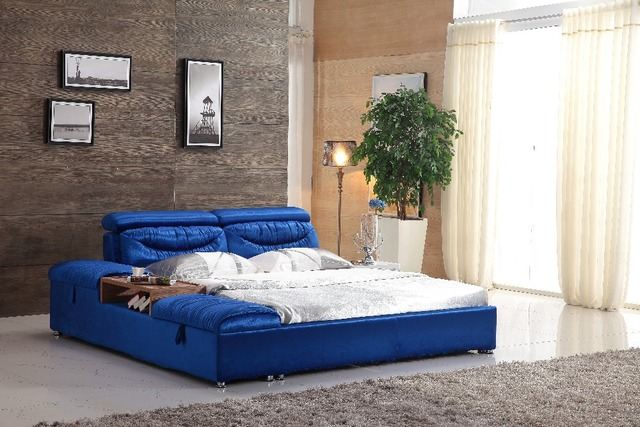 Unique king size blue farbic bed frame 0414-601 & Unique king size blue farbic bed frame 0414 601-in Beds from ...