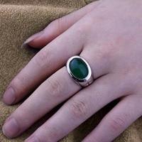 стерлингов продаж 925 серебро платиновое покрытие создан зеленый нефрит овальная установка человек ring_free согласно требованиям клиента lettering_ringm0013