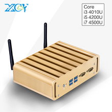 XCY 2017 MINI PC i3 i5 i7 4500u free shiping 2 LAN 2COM HTPC 4k Desktop Computers Meat Fanless Support Linux/Win10/win7(China (Mainland))