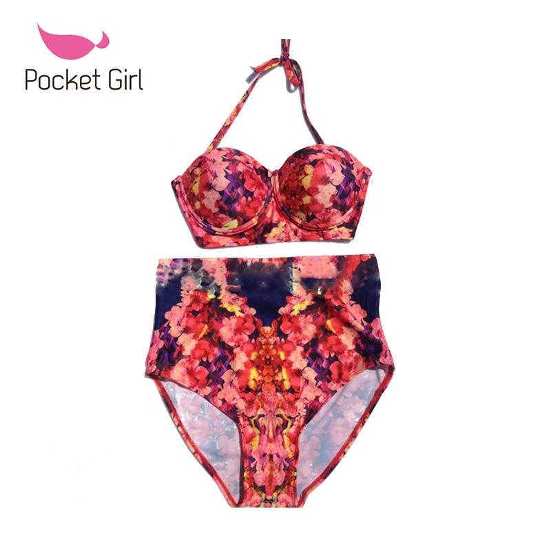 Pocket Girl 2016 Vintage Bandage High Waist Biquini Cut Out Trikini Female Print Bikini Set Sexy