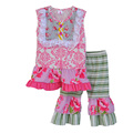 Conice New Style Sleeveless Girls Clothes Floral Cotton Top Stripes Ruffle Pants Boutique Remake Cheap Kids Summer Outfits S029
