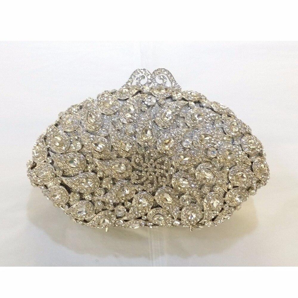 ФОТО 8358S silver Crystal shell Floral flower Wedding Bridal Party Night hollow Metal Evening purse clutch bag case box handbag