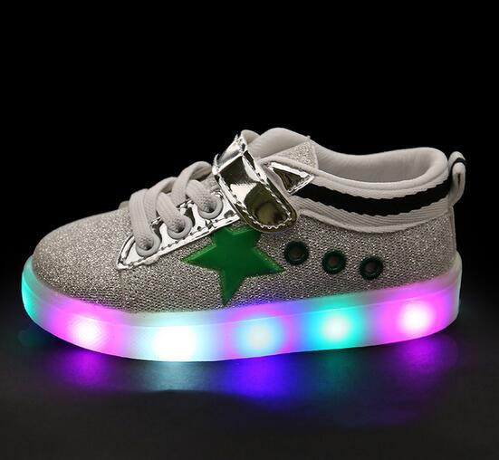2016 New Spring/Autumn LED lighting baby sneakers Hook&Loop hot sales boys girls shoes Pu casual cool baby shoes free shipping