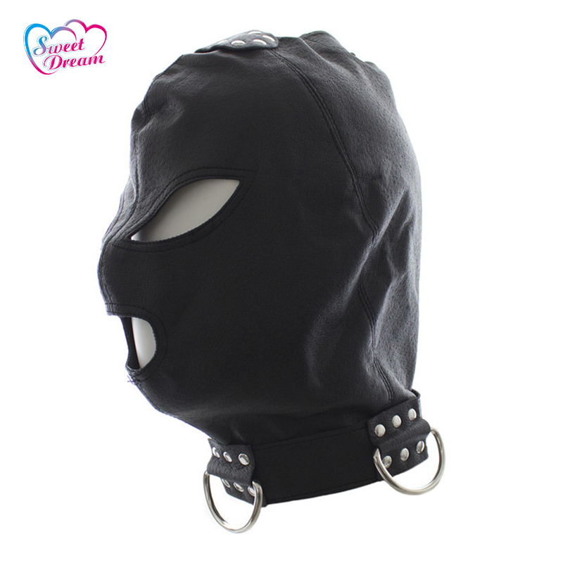 PU Leather Sex Masks/Hoods Open Eyes & Mouth Fetish Erotic Toys Role Play Sex Tools for Sale Sex Toys For Couple DW-447
