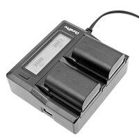 Durapro 2pcs LP E6 LP E6 LPE6 Camera Battery LCD Dual Rapid Quick Charger For Canon