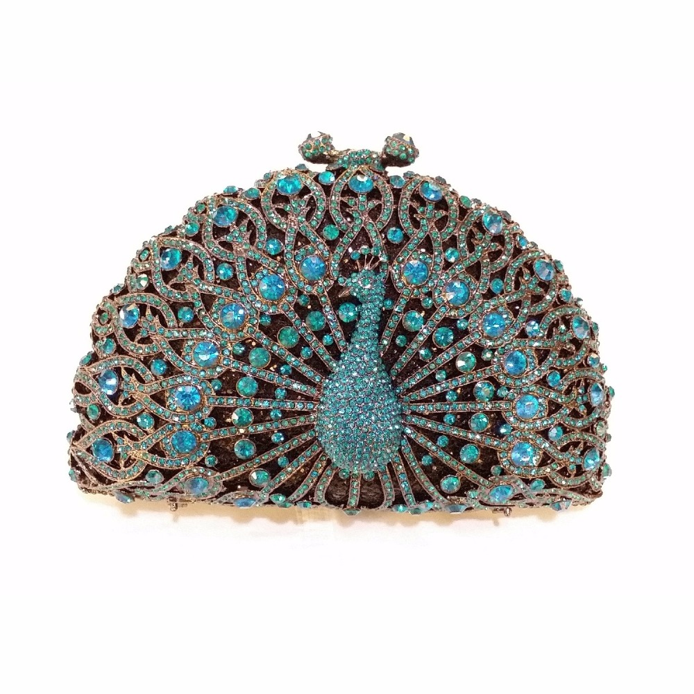 ФОТО 8105BLU Blue Crystal Peacock Animal Bird Wedding Bridal Party Night hollow Metal Evening purse clutch bag case box handbag