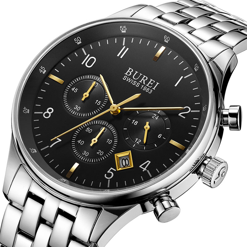 BUREI Luxury Watch Men Famous Brand Watches Full Steel Quartz Wrist Watch Analog Wristwatch Waterproof Male Clock Montre Homme 2017 women wrist watches quartz rhinestones luxury watch famous brand full steel dress wristwatch relogio feminino men clock hot