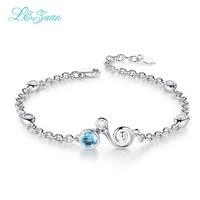 L Zuan Sterling Silver Jewelry Bracelet 0 93ct Natural Topaz Blue Stone Round Bracelet Bracelets For