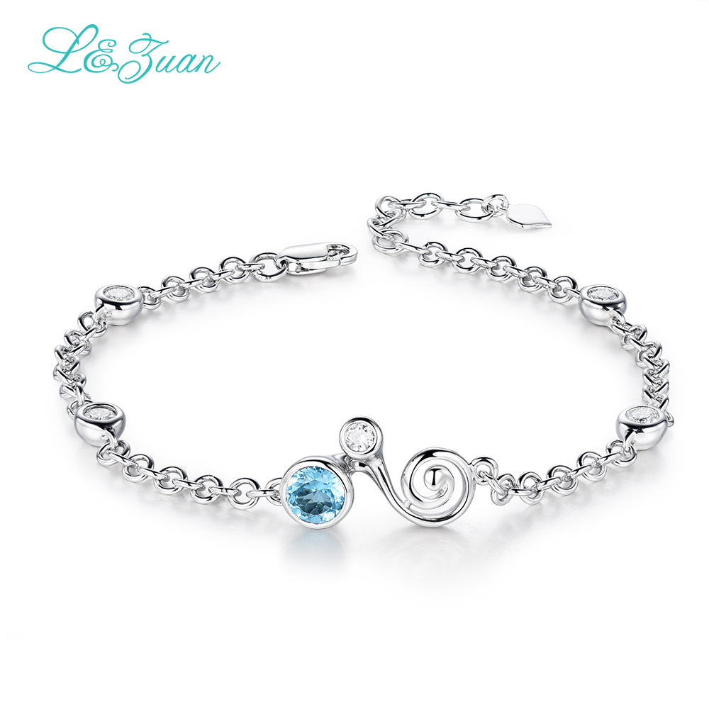 I&zuan White Gold 925 Sterling Silver Bracelet For Women Fine Jewelry  Natural Topaz Blue Gemstone Diamond