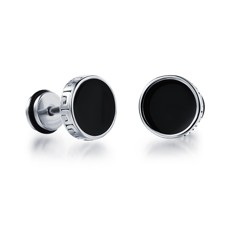 Punk Stainless Silver Gold Mens Stud Earrings For Men Engraving Hiphop Rock Jewelry Studs Earring Jewelry