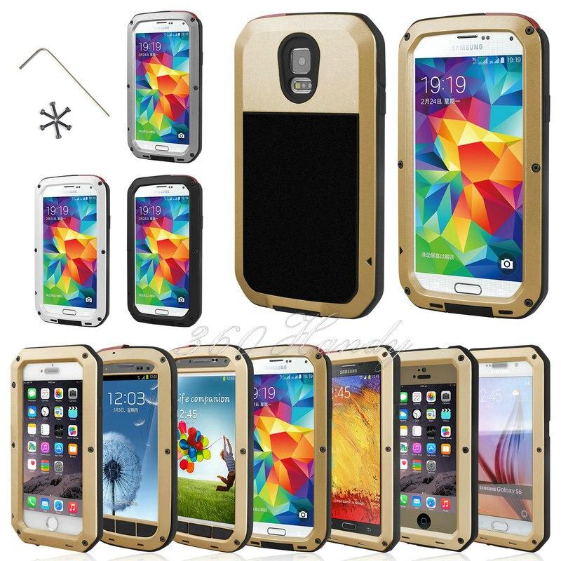 bilder für Fall Für Samsung Galaxy S3 S4 S5 S6 S7 kante Hinweis 4 5 Stoßfest IPX3 Wasserdicht Power Aluminium Gorilla-glas Schutzhülle