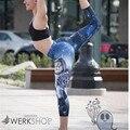 SL 2016 Nova Chegada Leggings Cheshire Cat Imprimir Calças Femininas de Inverno Azul Mulheres Sportwear Alta Waisted Leggings Gótico Leggin