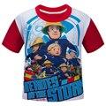 2016 Пожарный Сэм мальчик футболки с коротким рукавом мультфильм девочек футболки хлопок детская одежда 2 цвета мальчиков одежда топ ти для дети