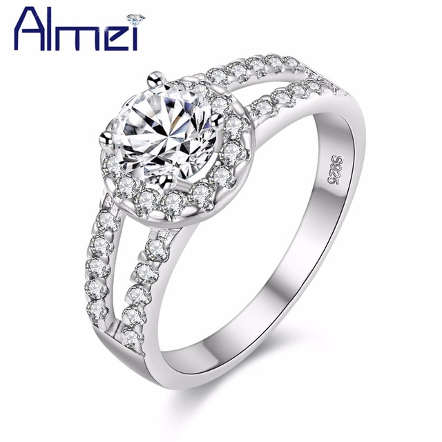 Almei Fashion Cubic Zirconia Stone Silver Color Rings Women Engagement Girls Valentine's Gift Jewelry Big Sale Dropshipping J510