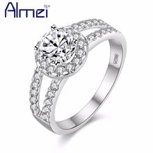 Модные кольца almei серебряного цвета с фианитом и камнем для
