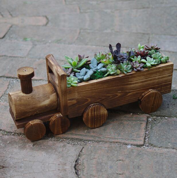 Online buy wholesale train pot from china train pot for Wooden cactus planter