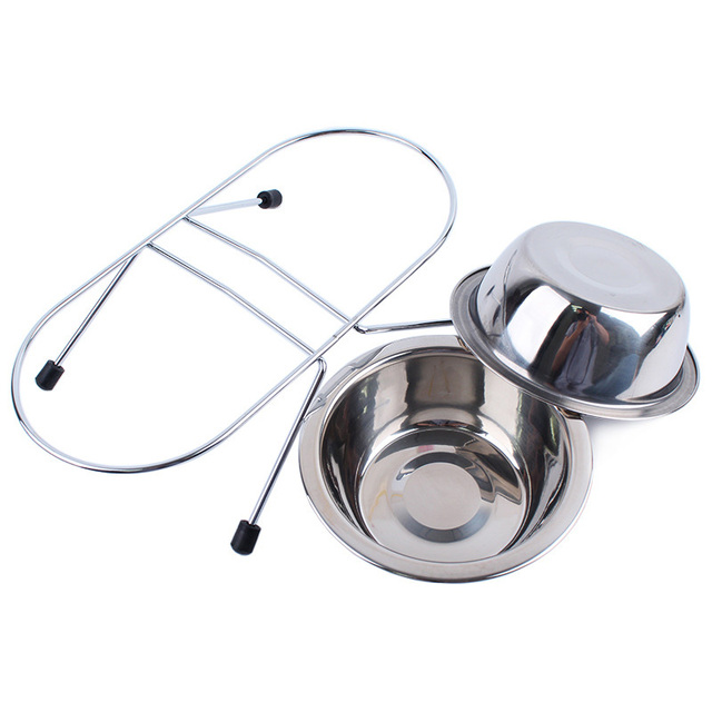 4 Size Stainless Steel Dog Bowl Feeder Hanging Pet Puppy Water Food Bowl