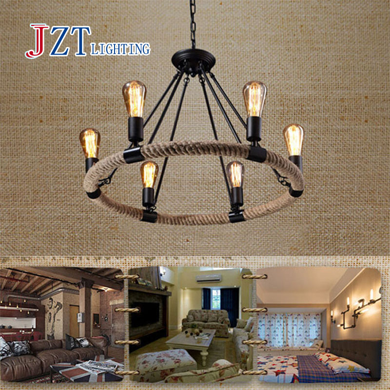 M Simple Vintage Hemp Rope Chandelier Nordic Wrought Iron Creativity Coffee Bar Dining Room Rope Light Indoor Light Fixtures american countryside style rope vintage wrought iron chandelier creative dining room chandelier old coffee bar e14 wpl163